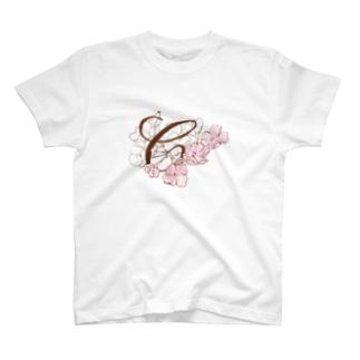"""sakura-C""Decorative alphabetシリーズ T-shirts"