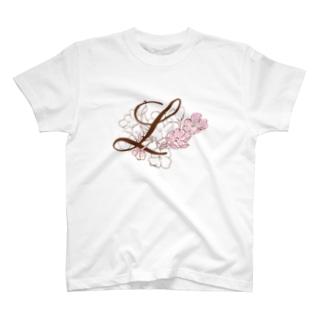 """sakura-L""Decorative alphabetシリーズ T-shirts"