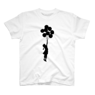 風船で浮く女の子バンクシー(banksy) T-shirts