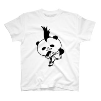 【かっこいいのに可愛いパンダ】モヒカンパンダの空手上段蹴り T-shirts
