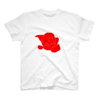 赤いバラのイラスト T-shirts