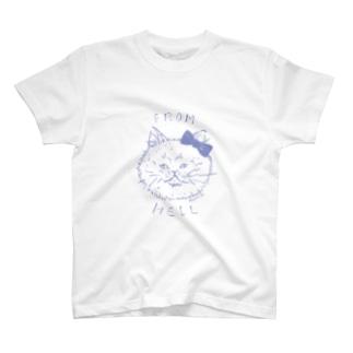 ねこ from hell (purple) T-shirts