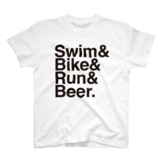 Swim Bike Run Beer (黒文字) T-shirts