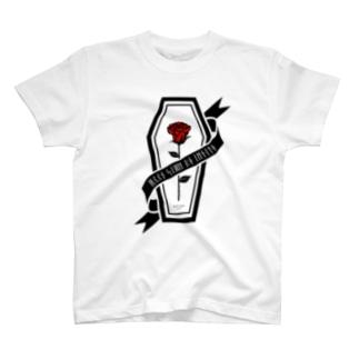 【MOON SIDE】Rose Coffin Ver.2 #Black Red Tシャツ