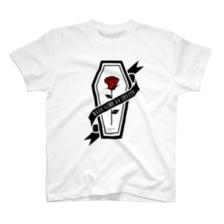 【MOON SIDE】Rose Coffin Ver.2 #Black Red T-shirts