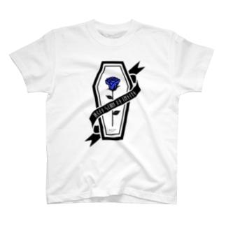 【MOON SIDE】Rose Coffin Ver.2 #Black Blue Tシャツ