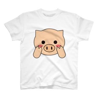 照れ屋のブタさん T-shirts