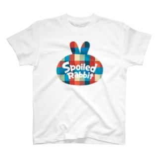 Spoiled Rabbit - Blue & Red Check / あまえんぼうさちゃん - ブルー&レッドチェック T-shirts
