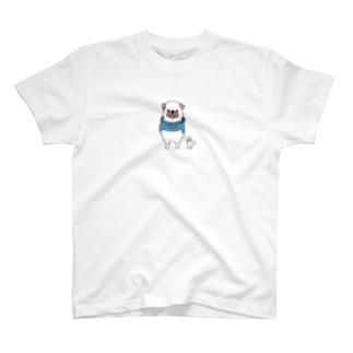 ぽちゃっとパグ(カラー) T-shirts