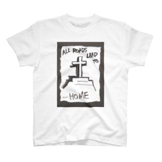 偽諺~弐~「全ての道はホームに通ず」(黒縁) T-shirts