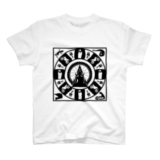 FUNAI RACINGの修行僧マンダラ(白)  T-shirts