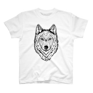一匹オオカミ(ウルフフェイス) T-shirts