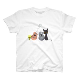 天使のひよこちゃんと黒猫ムーン アコースティック Tシャツ