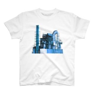 蒸気工場 青 T-shirts