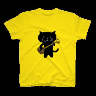miyuki suzuri shopのくろねこ沖縄三味線 Tシャツ