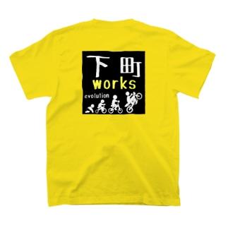 下町evo:ブラック バックプリント T-shirts