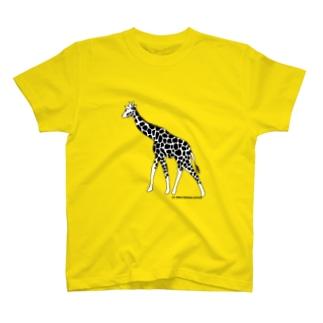 きりん(モノクロ) T-shirts