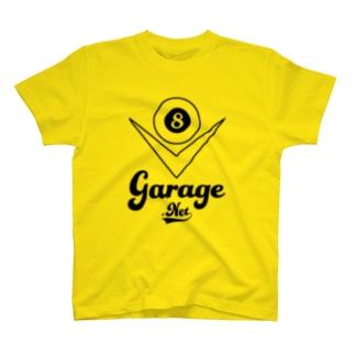 8garageロゴ V8 Black T-shirts
