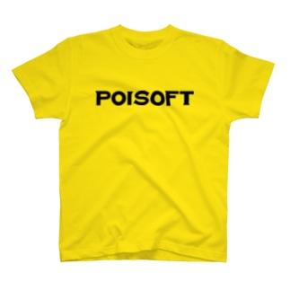 ポイソフトロゴ(ブラック) T-shirts
