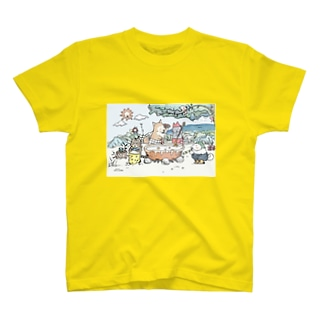 シチューを作る仲良しの4匹 T-shirts