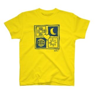 ユニバース  プリント色 ブルー T-shirts