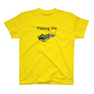 Fishing life lure Blue T-shirts
