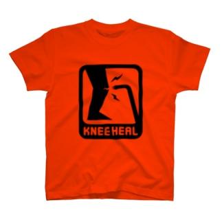 黒「KNEE HEAL」濃色Tシャツ T-shirts