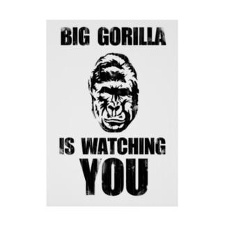 BIG GORILLA IS WATCHING YOU(黒字) Stickable tarpaulin