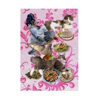 食い散らかし 中華パーティ ピンク Stickable tarpaulin