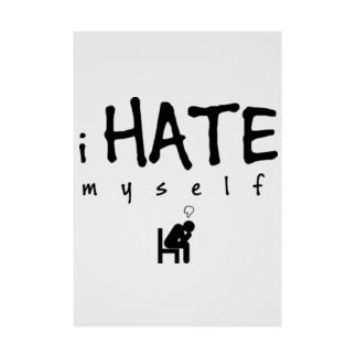 i HATE myself [Black] Stickable tarpaulin