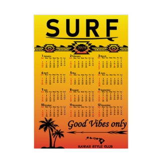 2019年カレンダー SURF SUN Stickable tarpaulin