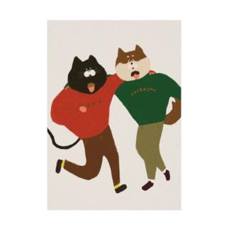 猫と犬は仲良し Stickable tarpaulin