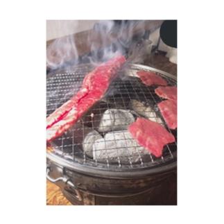 やっぱり人の金で食う肉はうめぇや! Stickable tarpaulin
