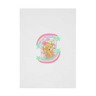 カラフルパステルキャンディ瓶詰めテディベア Stickable poster