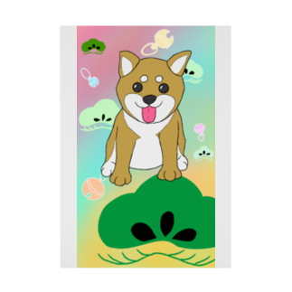 Lily bird(о´∀`о)のにこにこ柴犬 和柄② Stickable tarpaulin