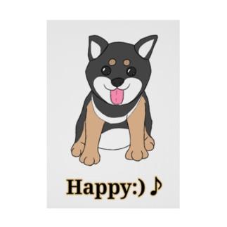 うるうる黒柴犬ちゃん 英語ロゴ Stickable tarpaulin