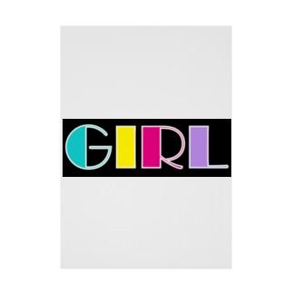 レトロカラフル GIRL Stickable poster