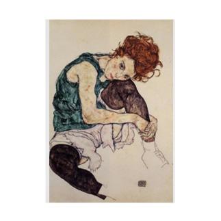 エゴン・シーレ / 1917 / Seated Woman with Bent Knee /Egon Schiele Stickable poster