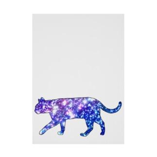 猫シルエット(ギャラクシー柄②) Stickable poster
