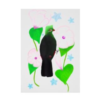 見返り美鳥(ギニアエボシドリ)と花① Stickable poster