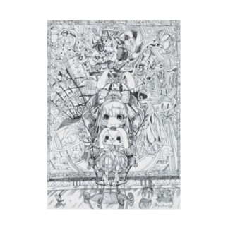 不思議の国のアリス(白黒) Stickable tarpaulin