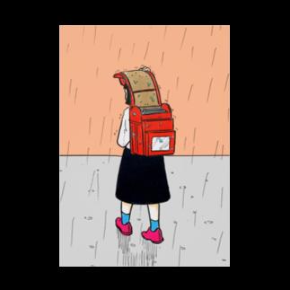森本大百科の雨を避けるために教科書を犠牲にする少女 Stickable tarpaulin