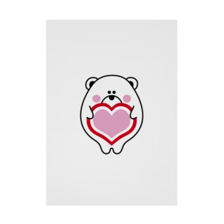白くま&ハート Stickable poster