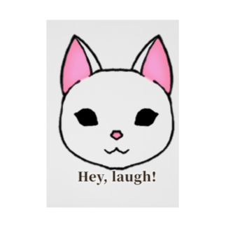 enu. のHey, laugh!(白猫) Stickable tarpaulin