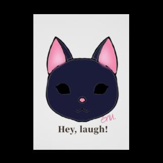 enu. のHey, laugh!(黒猫) Stickable tarpaulin