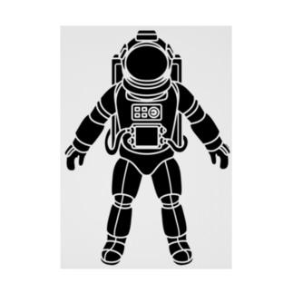 夢見る宇宙服-シルエット-黒 Stickable tarpaulin