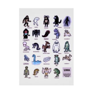 すとろべりーガムFactoryのちょっとゆるいUMA図鑑 (カラーパターン2) Stickable poster