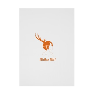 Studio Persimmonの鹿ガール Stickable tarpaulin
