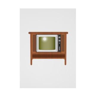 illust_designs_labのレトロな昭和のオーディオテレビのイラスト 脚付き  Stickable tarpaulin