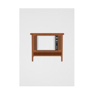 illust_designs_labのレトロな昭和のオーディオテレビのイラスト 画面オン 脚付き  Stickable tarpaulin